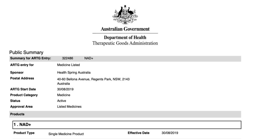 Enervite-NAD+-TGA-Certification